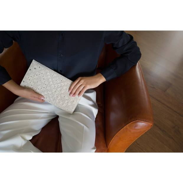 Lefkaritiko-lace Berengaria clutch, from €464