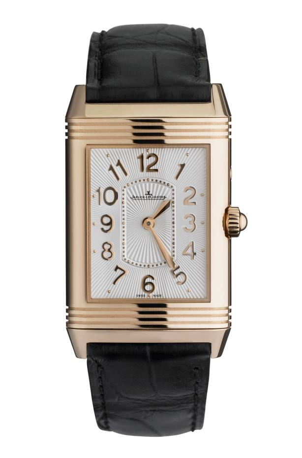 Jaeger-LeCoultre Grande Reverso Lady Ultra Thin Duetto Duo watch in rose gold, diamonds and mother-of-pearl on alligator strap, £16,300. Also in stainless steel