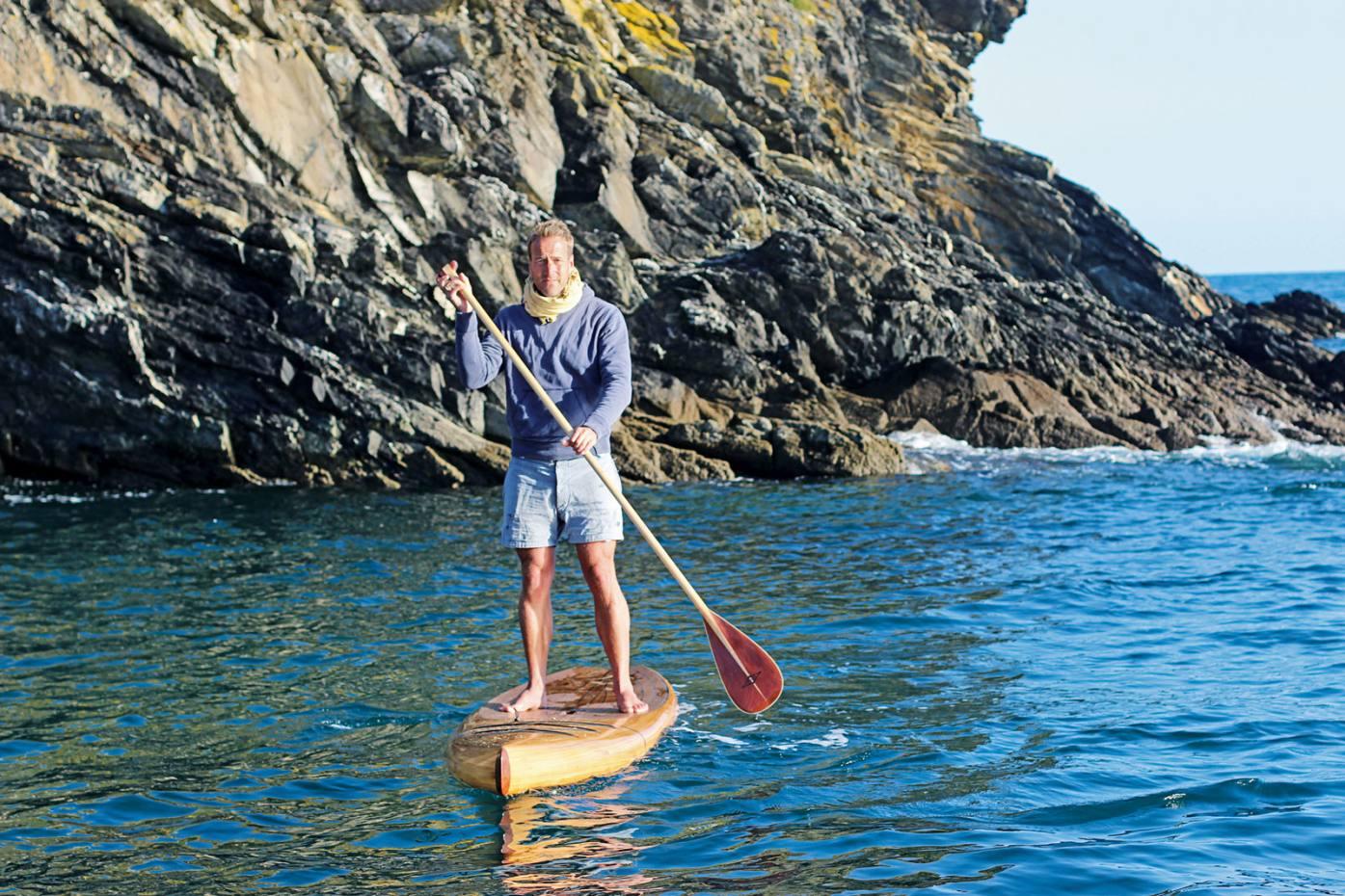 Ben Fogle on hishandmade paddleboard, ClipperMk I