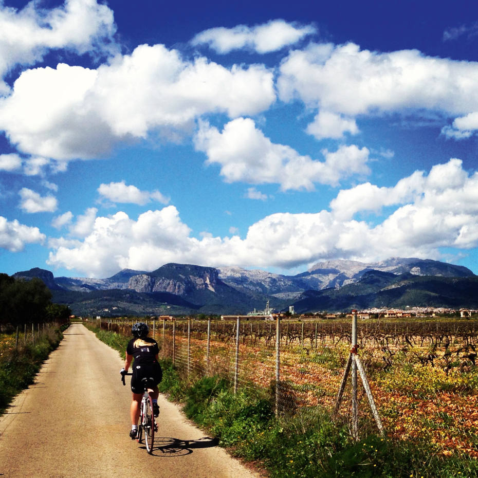 Cycling in the foothills of the Serra de Tramuntana mountains, Mallorca