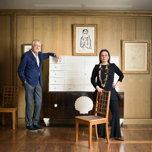 Jean-Jacques Dutko and Terry de Gunzburg in her London home, with an art deco cabinet by André Groult, chairs by Jean-Michel Frank and artworks by Picasso, Kees van Dongen and Matisse