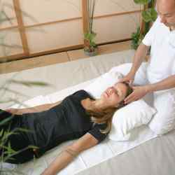 A guest having a shiatsu massage