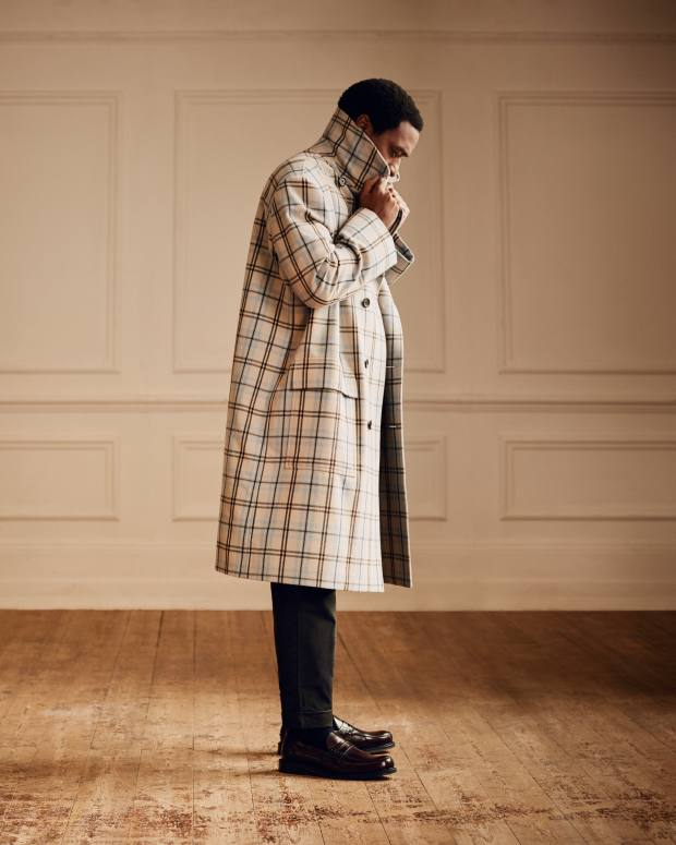 Connolly wool coat, £1,995.Barena stretch-cottondrawstring trousers,£190, from Mr Porter. Church's leather Willenhall loafers, £395