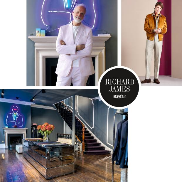 Clockwise from top left: tailor Richard James. A look from the new season features a gold shadow spot‑print cotton shirt, £225. Richard James' bespoke store in Mayfair, with a custom neon light by Philip Oakley
