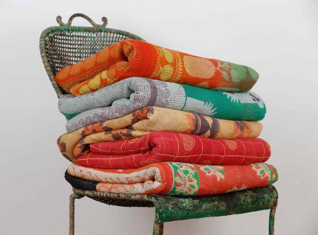 Rebecca's Aix's vintage Indian kantha quilts, from £95, make splendid throws, tablecloths or picnic rugs