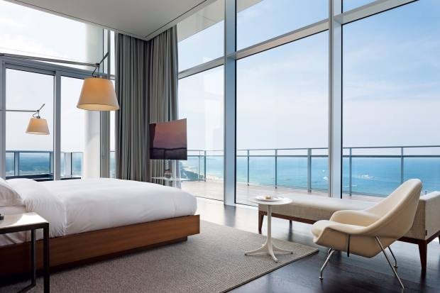 Most of the bedrooms at The Seamarq hotel in Gangneung have sweeping views over the East Sea