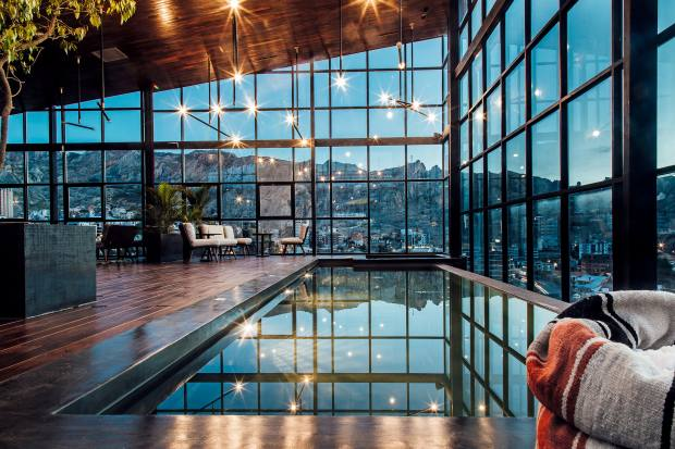 The infinity pool at Atix, billed as La Paz's first design hotel