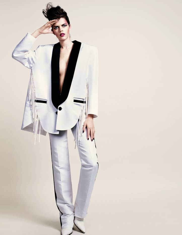Antonio Berardi cotton/silk blazer, £430, and matching trousers, £465. Céline nappa Rodeo mules, about £764