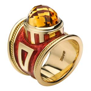 Elizabeth Gage The Passion Fruit bespoke ring in 18ct yellow gold, citrine and enamel, £5,880