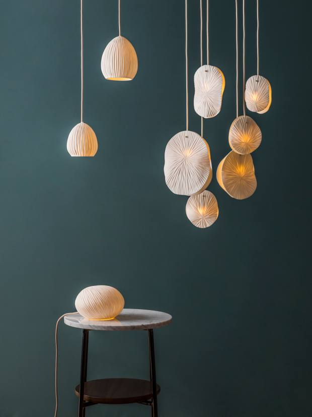 Ceramic pendant lights from left: Diploria, from £159, and Ginkgo, from £189