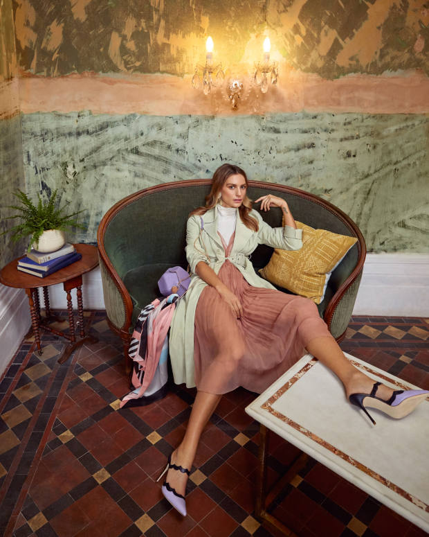 Jacquemus suede Luccio coat, £1,250. Dior silk dress, £6,200. Cashmere in Love silk/cashmere rollneck, £295. Manolo Blahnik leather Gimenta heels, £675. Annie Costello Brown sterling-silver Yulia earrings, €367. Waiwai Rio leather Hive bag, €540. Louisa Parris  silk/modal Colefax scarf (attached to bag), £185