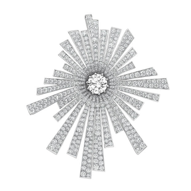 Chanel High Jewellery white gold and diamond Soleil brooch from the 1932 Re-edition collection, price on request