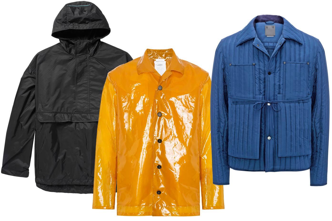 Pradanyloncagoule, £765. Jil Sander plastic raincoat, £870. Craig Green polyester jacket, £560