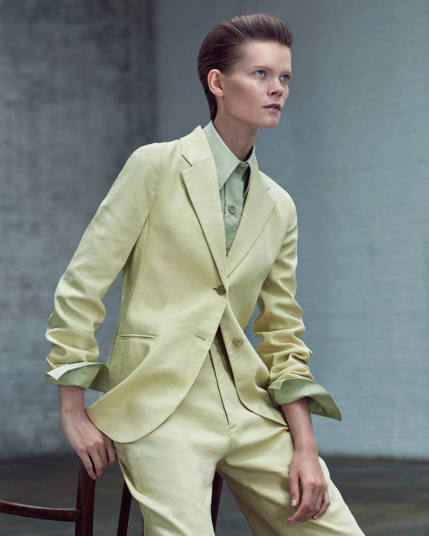 Joseph stretch-linen Archi jacket, £495, matching Ferguson trousers, £325, and cotton poplin New Garçon shirt, £245
