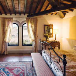 A bedroom at the Castello di Ama, where the wine and art are both world‑class
