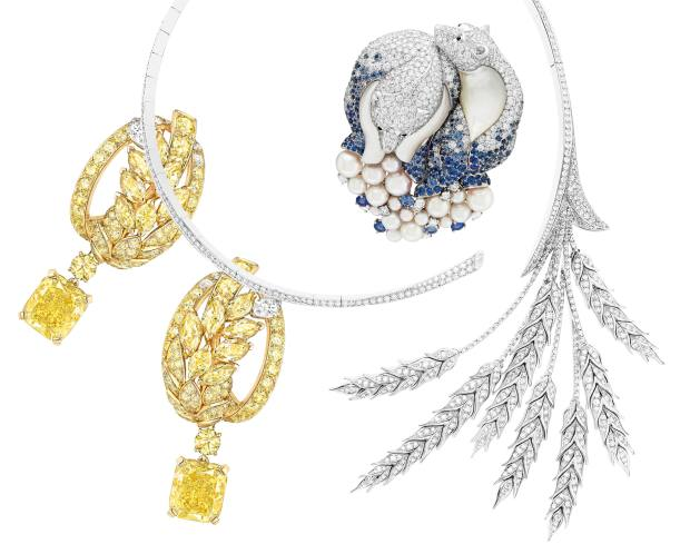 From left: Chanel gold and diamond Fête des Moissons earrings. Van Cleef & Arpels white gold, diamond, sapphire, mother-of-pearl and pearl Ours Blancs clip. Boucheron white-gold and diamond Blé d'Eté necklace. All price on request