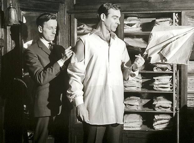 Sean Connery being fitted for his inaugural 007 film, Dr No, at Turnbull & Asser's Jermyn Street flagship location