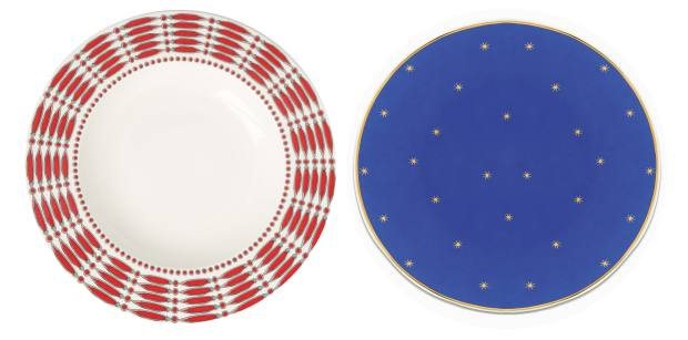 From left: Issimo x Villeroy & Boch Peperoncino plate, €378 for six, and Giotto plate, €310 for six
