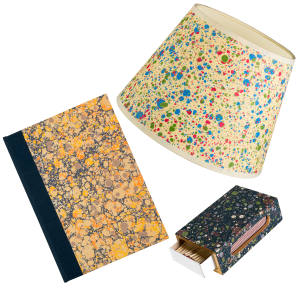 Compton Marbling crafts mesmerising marbled products, from notebooks, from £9.95, to lampshades, from £24.95, and wooden matchbox covers, £19.95