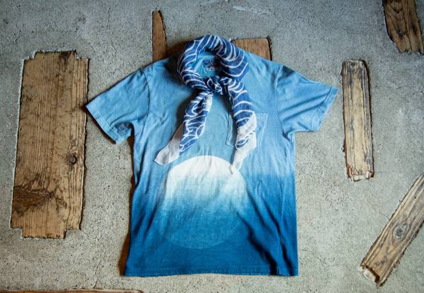 Blue Blue Japan itajime T-shirt, about £135, and example of silk-chiffon scarf