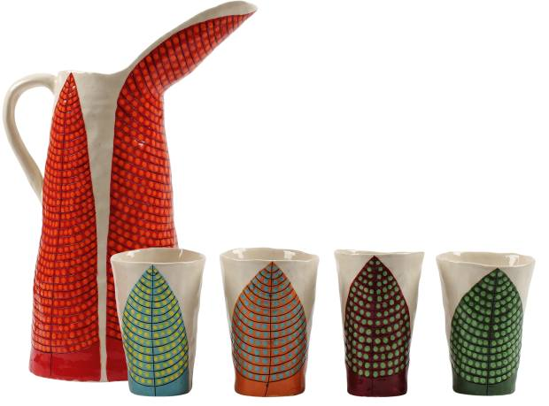 Andrew Ludick earthenware Fern jug, €140, and beakers, €50 each