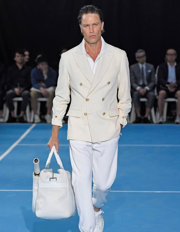 Umit Benan cotton jacket, £1,110, cotton piqué shirt, £220 and cotton jersey joggers, £330