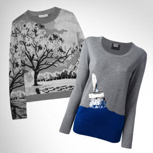 From left: Mary Katrantzou wool/silk-mix intarsia-knit landscape sweater, £795. Markus Lupfer Emma crew-neck, £275