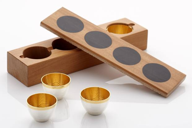 Kyosun Jung silver and gold Soju cups in a mahogany and wenge box, £2,200 for a set of four