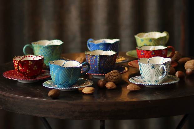 Brightly coloured espresso cups fromPotter's Workshopare made in Cape Town and cost £32 each