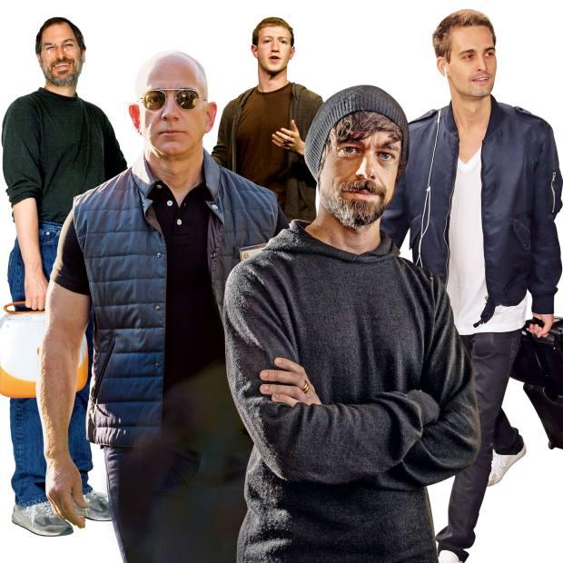 From left: the late Steve Jobs. Amazon founder/CEO Jeff Bezos. Mark Zuckerberg. Twitter founder/CEO Jack Dorsey. Snapchat CEO Evan Spiegel