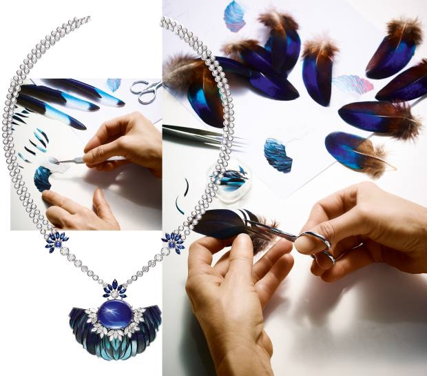 From left: Piaget white gold, diamond, sapphire and feather Sunlight Journey pendant, price on request. The feather art that went intoits creation