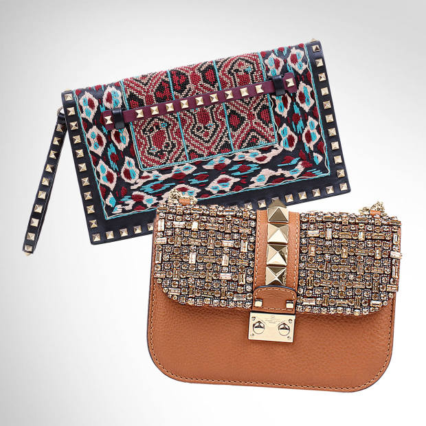 From top: Valentino Garavani leather and wool clutch, £2,085. Valentino Garavani leather and Swarovski-crystal bag, £2,305
