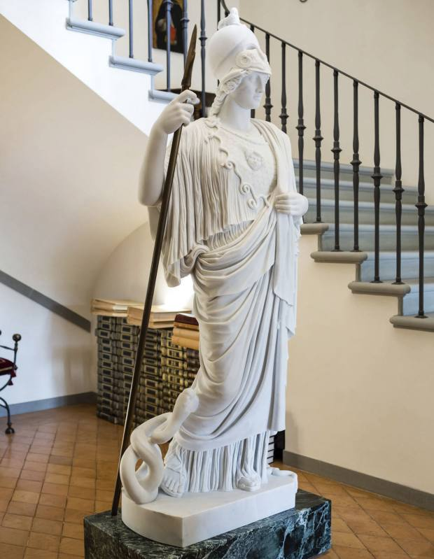 Cucinelli's Minerva statue, in the entrance of his home