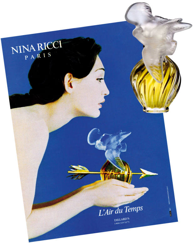 c1980s advert for Nina Ricci L'Air du Temps, with the original perfume, £66 for 50ml EDP