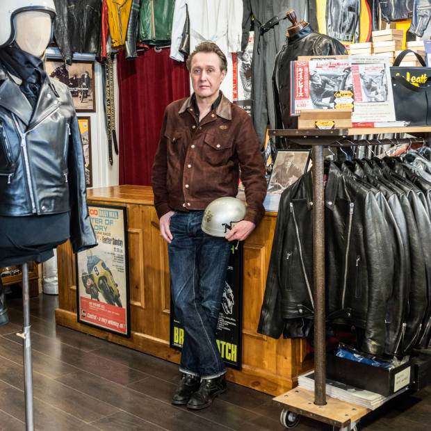 Owner Derek Harris at Lewis Leathers