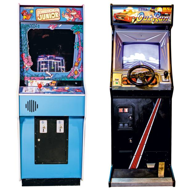 1982 Nintendo Donkey Kong Jr, £2,497, from Home Leisure Direct, and 1986 Sega OutRun, a rare find prized by collectors