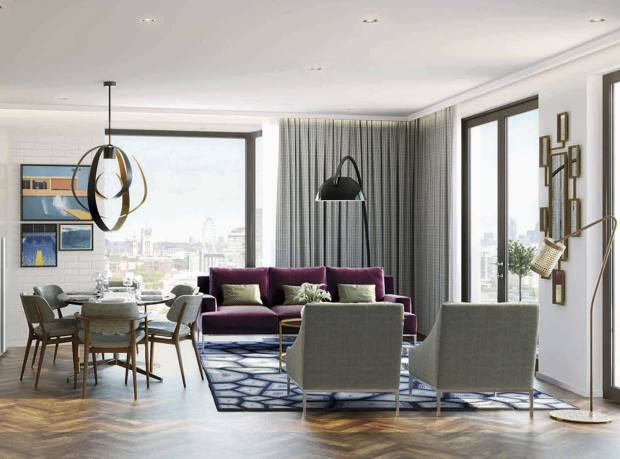 The living room of a two‑bedroom flat in Embassy Gardens Capital Building, from £599,000