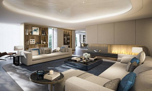 A living room at Mayfair Park Residences, where owners enjoy Dorchester Collection services through the adjacent 45 Park Lane hotel