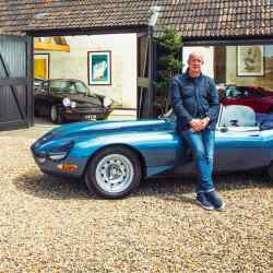 Collector Paul Sweetenham beside his 1962 Eagle E-Type at specialist car dealership The Hairpin Company, with, left, the company co-founder Neil Dickens and Sweetenham's 1978 Volkswagen Beetle 1303S cabriolet, worth between £35,000 and £40,000 today