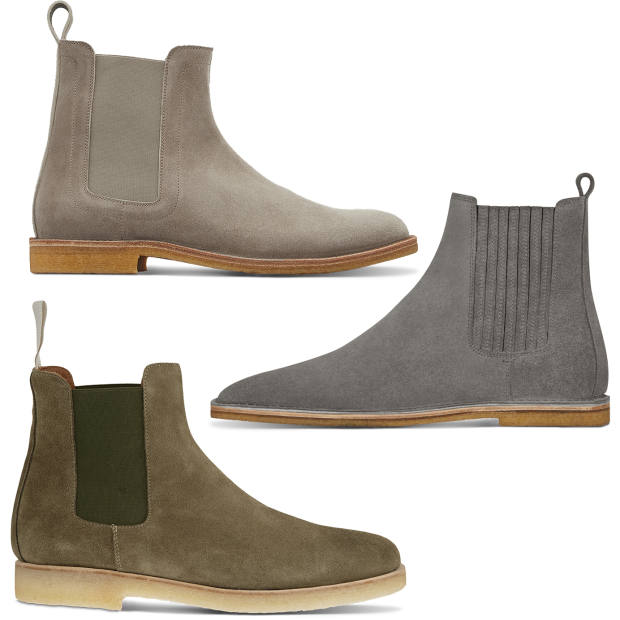 Clockwise from top left: Bottega Veneta suede Voortrekking boots, £535. Saint Laurent suede Chelsea boots, £650. Common Projects suede Chelsea boots, £410