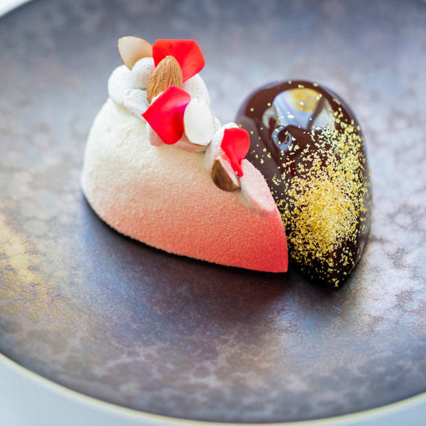 "Alain Ducasse at The Dorchester will finish the evening with a decadent ""Heart for Two"" dessert"