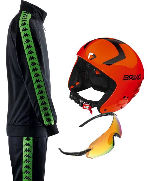 Clockwise from left: Kappa Banda tracksuit, £95. Briko Vulcano helmet, €199. Briko Superleggero sunglasses, €169