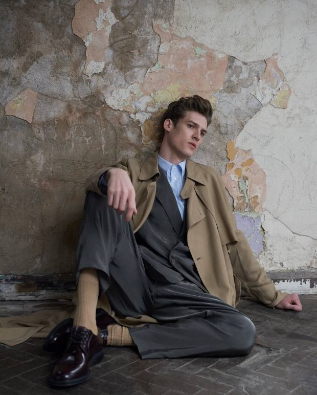 Giorgio Armani cupro trench coat, £2,000, cupro jacket, £2,900, matching trousers, £1,600, and cotton shirt, £290. Pantherella cotton Lisle socks, £12. Church's leather shoes, £530