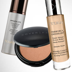 From left: Hourglass Immaculate Liquid Powder Foundation, £50. By Terry Terrybly Densiliss foundation, £75.  Cover FX Illuminator, £25