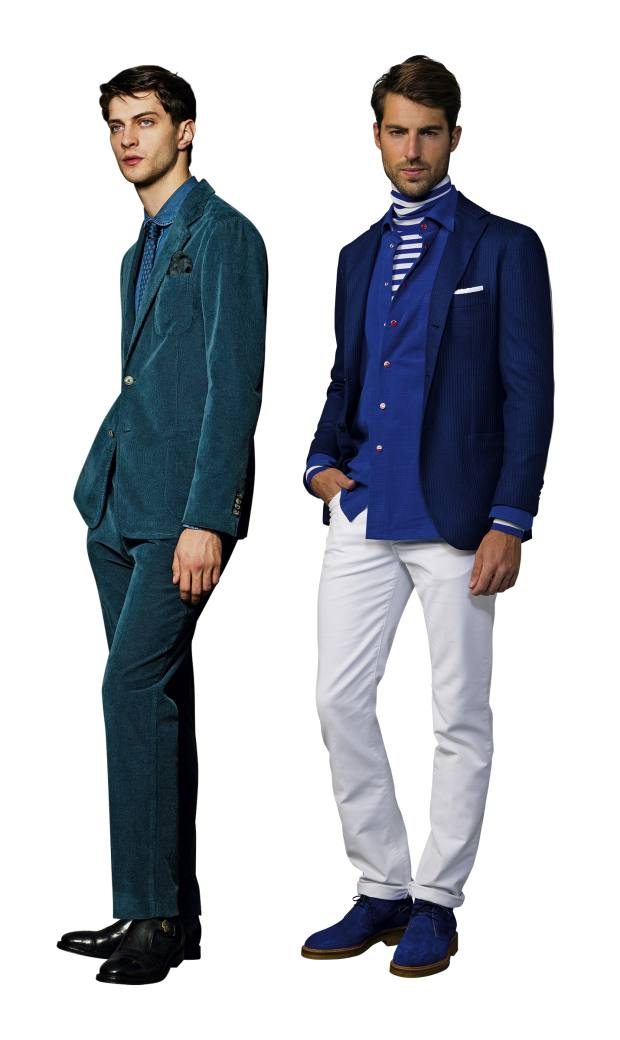 From left: Boglioli velvet-cord Visconti suit, £1,022. Kiton cashmere/wool cord cardigan blazer, £5,600