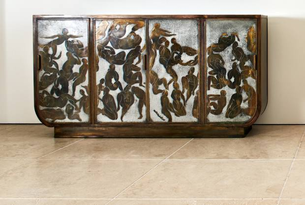 "Thanopoulos's ""dream piece"": c1968 Bathers cabinet by Philip and Kelvin LaVerne in patinated bronze on oak"
