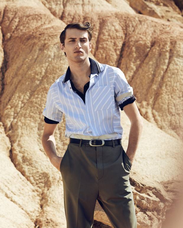Lanvin cotton twill shirt, £470, cotton jersey polo shirt, £445, wool trousers, £505, and calfskin belt, £275