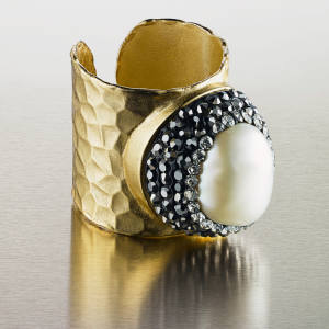 Pebble London gold-plated pearl ring, £90