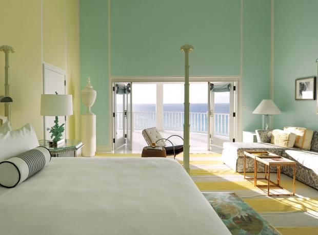 An ocean view room at Malliouhana