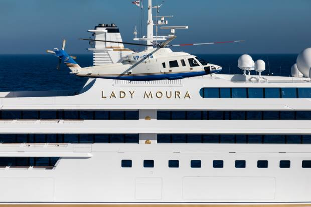 The superyacht has its own helipad, and can accommodate 26 guests and a crew of 72